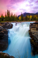 Autumn Sunset Over Athabasca Falls